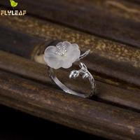 Flyleaf 100 925 Sterling Silver Crystal Plum Branches Open Rings For Women Elegant Lady High Quality