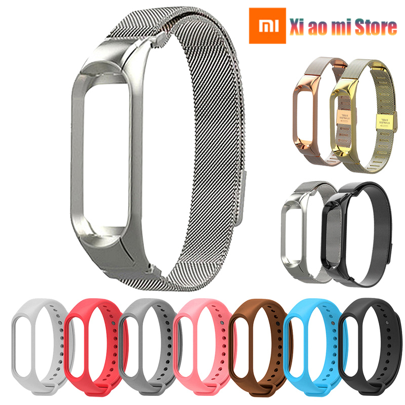 Stainless Steel Bracelet Strap For Mi Band 3 Bracelet High Quality Silicone Wrist Bands Mi Band 3 Strap Smart Accessories
