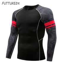 Mens Compression Long sleeve t shirt Run jogging Quick Dry shirts Man gym Fitness Bodybuilding Sportswear Tight tee Tops clothes(China)