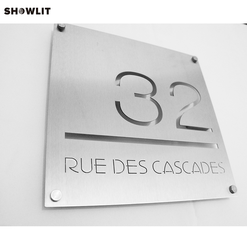 External Letter Signs House Number Plates Sign In Brushed Stainless Steel