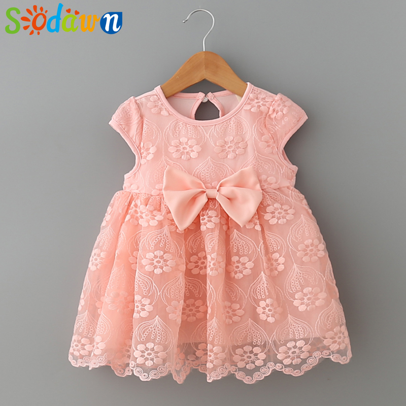 Sodawn 2018 Summer Models Girls Clothes Lace Dress Cute Female Baby Bow Princess Dress Cotton Stitching Lace Baby Girls Clothes thai tide brand cape style fairy layer tassel stitching slim dress hollow out mesh lace stitching fringed champagne dress white