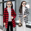 4-15Year Plaid Girls Spring Warm Coats England Style Toddler Girls Trench Jackets Thicken Warm Kids Outwear Hooded Clothes