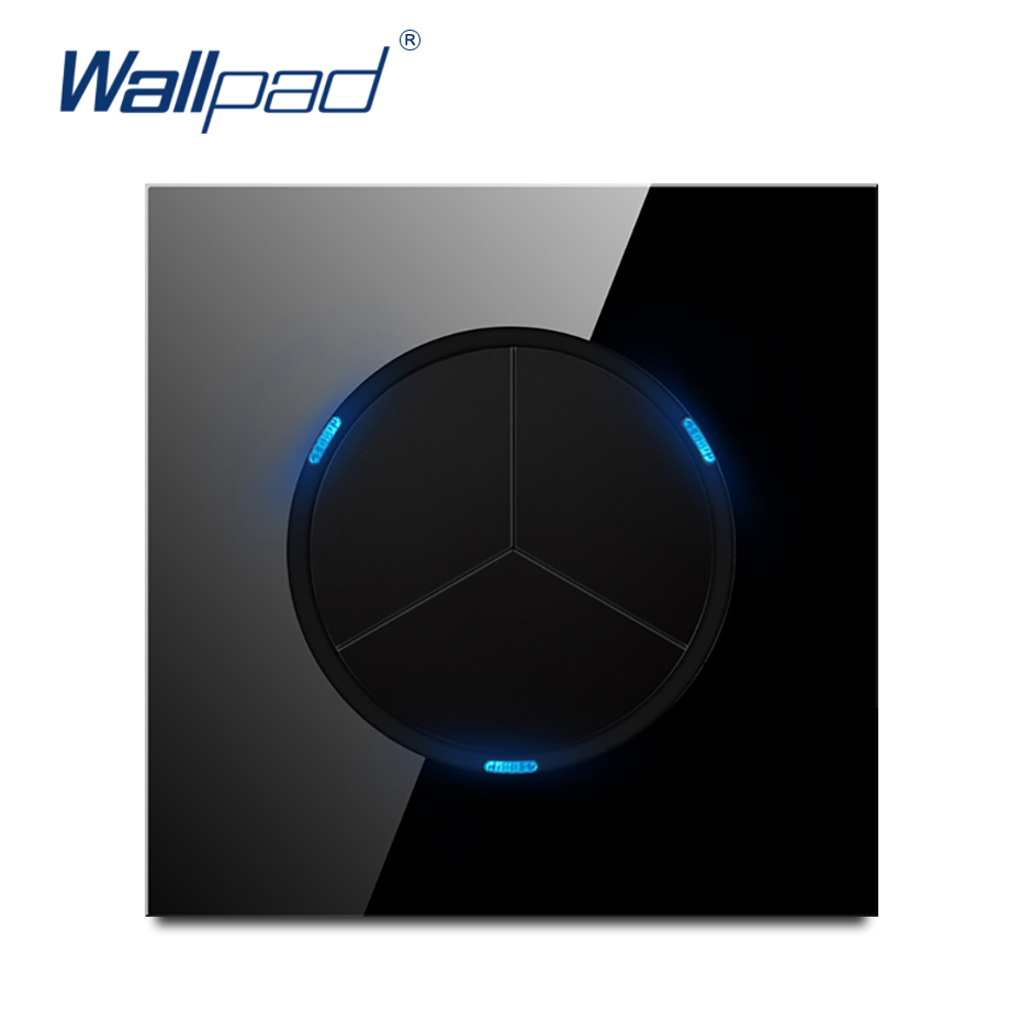 Wallpad L6 Black Tempered Glass Panel 3 Gang 2 Way Wall Light Switch Random Click Push Return Button With LED Indicator