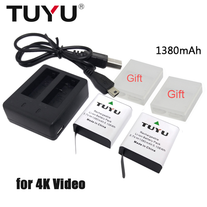 TUYU 1380mAh Battery for EKEN H9 H9R H8R H6S H5S+ W9s H3r SJCAM SJ4000 Sj5000 M10 SJ7000 SooCoo C90 c30 C50 gitup2 EK7000 tuyu aluminum alloy rugged cage protective case for eken h8r h5s h6s h9r plus v50 gopro hero 4 3 camera with go pro uv lens cap