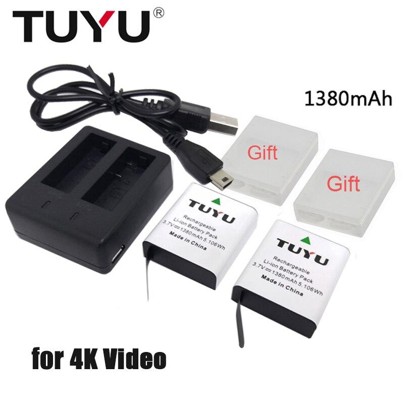 TUYU 1380mAh Battery for EKEN H9 H9R H8R H6S H5S+ W9s H3r SJCAM SJ4000 Sj5000 M10 SJ7000 SooCoo C90 c30 C50 gitup2 EK7000