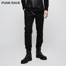 PUNK RAVE Punk Military Uniform Leisure Men Trousers Formal Wedding Pants Casual Stripe Show Thin Fashion Long Mens
