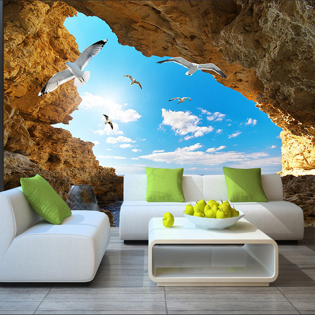 Attractive Beach Tropical Wall Mural Custom 3D Wallpaper For Walls Seagull Photo  Wallpaper Kids Bedroom Decor TV