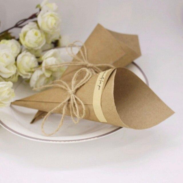 Famoso 100 x brown bomboniere fiore coni titolare stile gelato fai da te  ZN04
