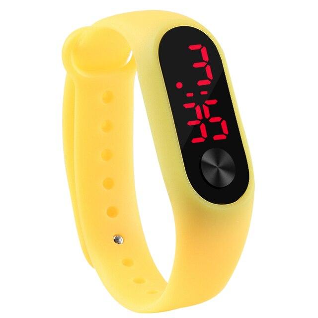 Mode en plein air Simple sport rouge LED Bracelet numérique montre hommes femmes coloré Silicone montres enfants enfants montre-Bracelet cadeau