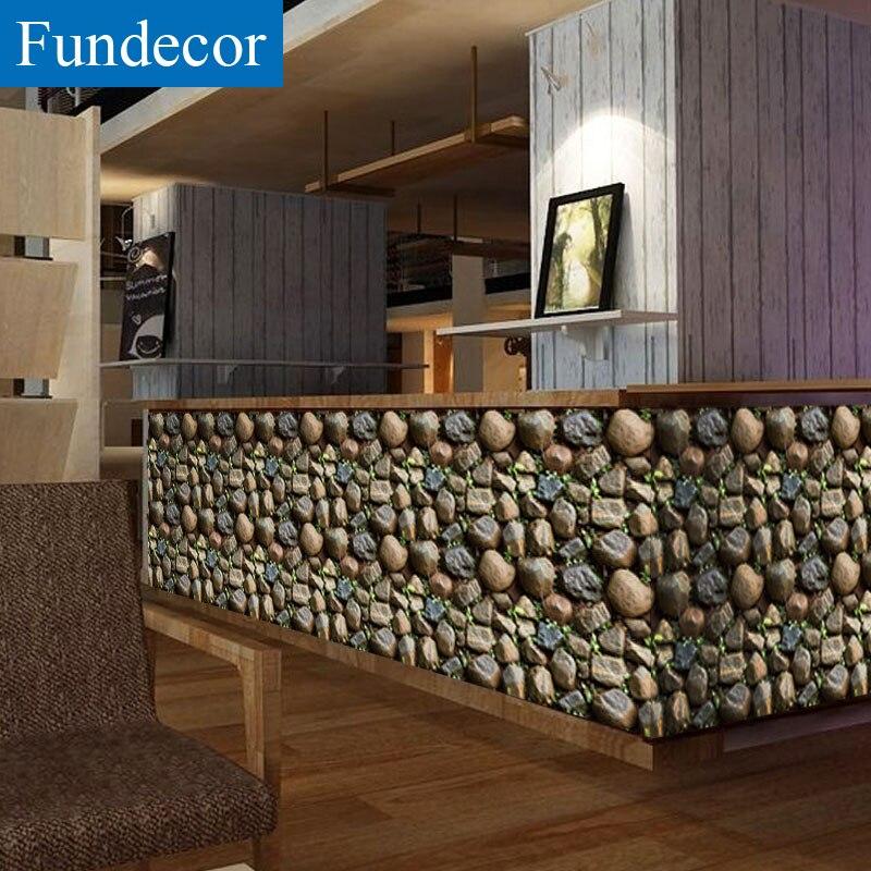 [Fundecor] 45x1000 cm Gesimuleerde 3d steen behang voor woonkamer Slaapkamer zelfklevende film voor meubels Roll papier stickers
