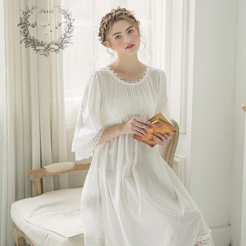 a14837528a New Women Cute Gowns Cotton Princess Nightgown Ladies Vintage Sleepwear  Women Night wear European Retro Style ...