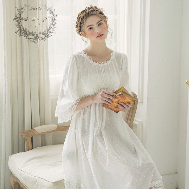 c9f62a7c58 Women Vintage Gown Pure Cotton Princess Nightgown Ladies Royal Casual Sleepwear  Women Night wear European Retro Style Dress 2159