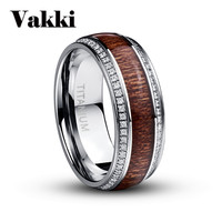 Newesst Steel Stainless Steel Ring For Men Micro Pave White CZ Acacia Wood Titanium Steel Mens Wedding Rings Jewelry