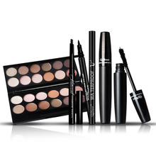 4pcs/set Makeup Kits Charming 12 Color Long-lasting Eyeshadow Eyebrow Pencil  Lengthening 3D Eyelash Mascara Set