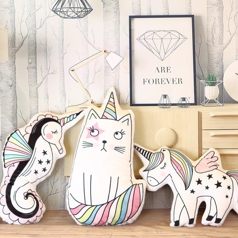 Creative Unicorn Cat Ice Cream Rainbow Cushion With Inner Stuffed Cute Pillow Home Decor Birthday Christmas Gift