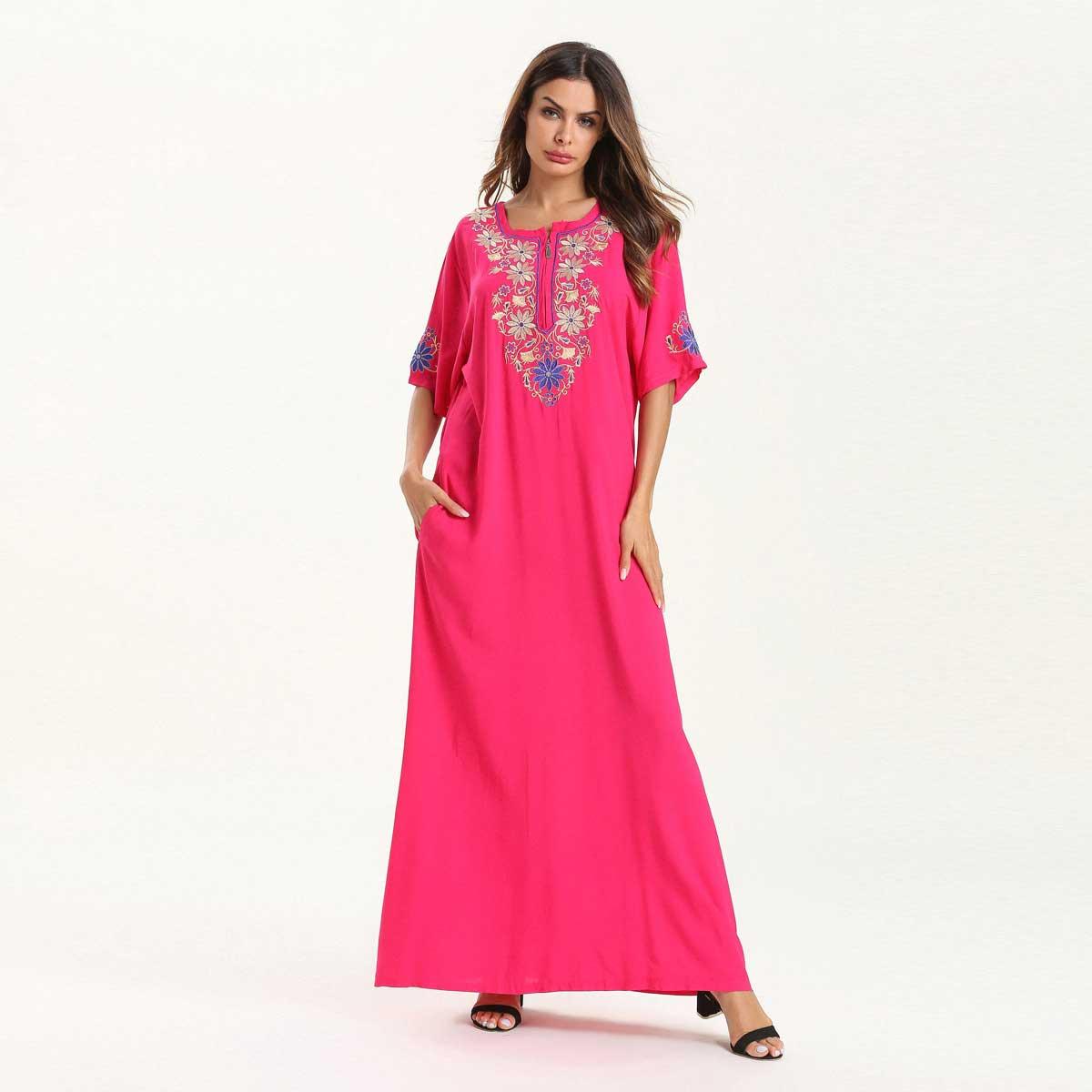 Women Summer Maxi Dress Short Sleeve Embroidery Ethnic Muslim Abaya Dubai Kaftan Islamic Arabic Ramadan Robe Fashion VKDR1523