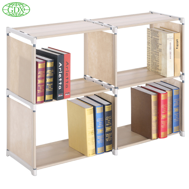 GDX Free Shipping Modern Non-Woven 4 Cubes 2Tier Stainless Tube Book Shelf storage Bookcase