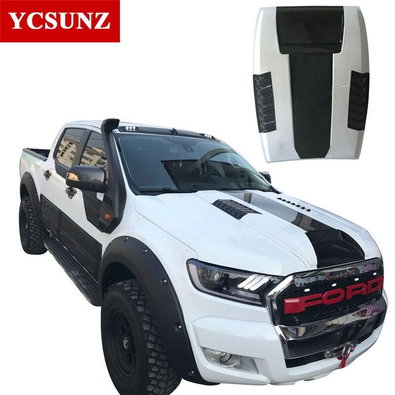 2016-2017 Black Raptor Bonnet Scoop Hood For Ford Everest Black Bonnet Hood For Ford Ranger T7 Wildtrak Endeavour Everest Ycsunz