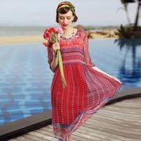 A3ZT909-2 Groothandel Europa en Amerika Lente & Zomer Vrouwen kleding dames Afdrukken Jurk 100% Zijden jurk