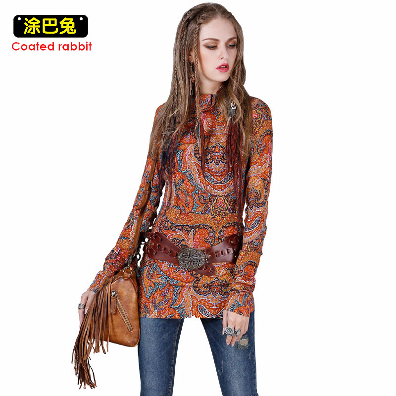 CR Spring Long Sleeve T Shirt Women 2018 Indie Folk Style Fashion Pipa Buckle Design Tees Tops Women Clothes
