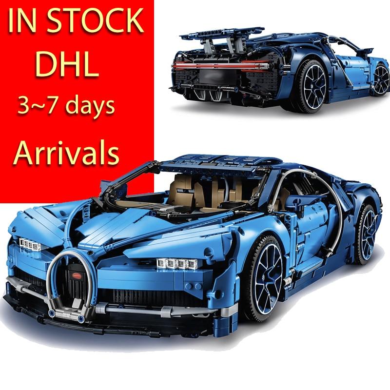 DHL Legoing 4031 шт. Technic 42083 Bugatti Хирон гоночный автомобиль наборы Модель Building Block кирпич игрушки для детей на день рождения подарок
