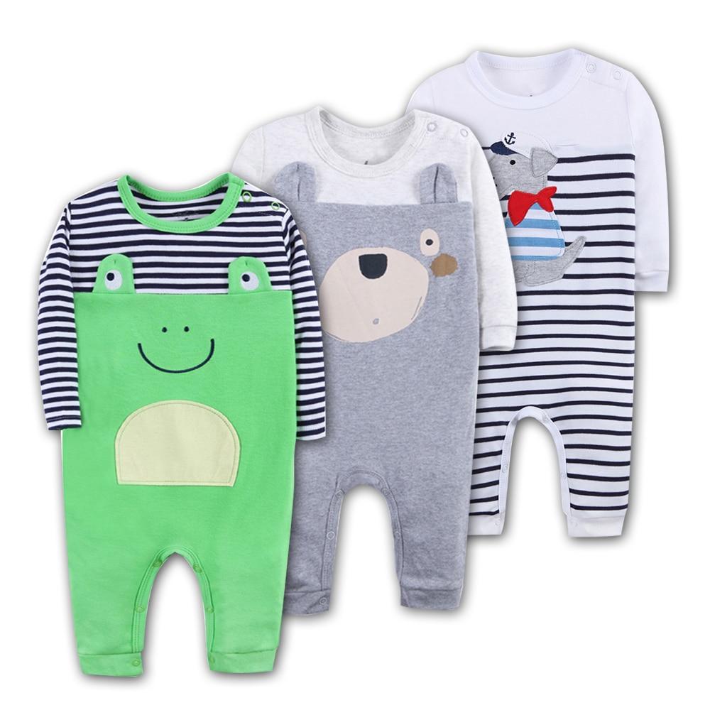 3 stks Baby Rompertjes 100% Katoen Lange Mouwen Dier modellering - Babykleding - Foto 2