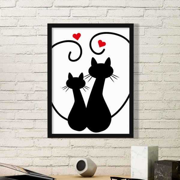 Cartoon Cute Sleepy Black Cat Protect Animal Pet Lover Simple Picture Frame Art Prints of Paintings Home Wall Decal