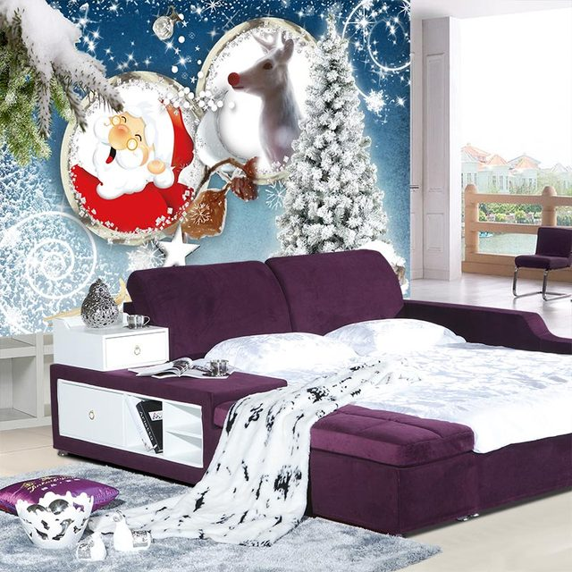 Natale Home Decor Behang Murales Camera da Letto Per Bambini ...