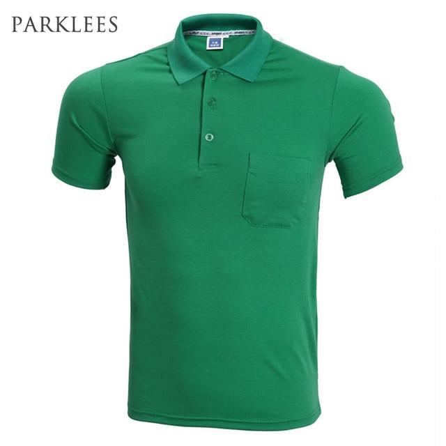 f3f51dde0c58fb Moda Zielony Polo Koszula Mężczyzna Polo Homme 2016 Lato Style Krótki Rękaw  Jednolity Kolor Koszulki Polo