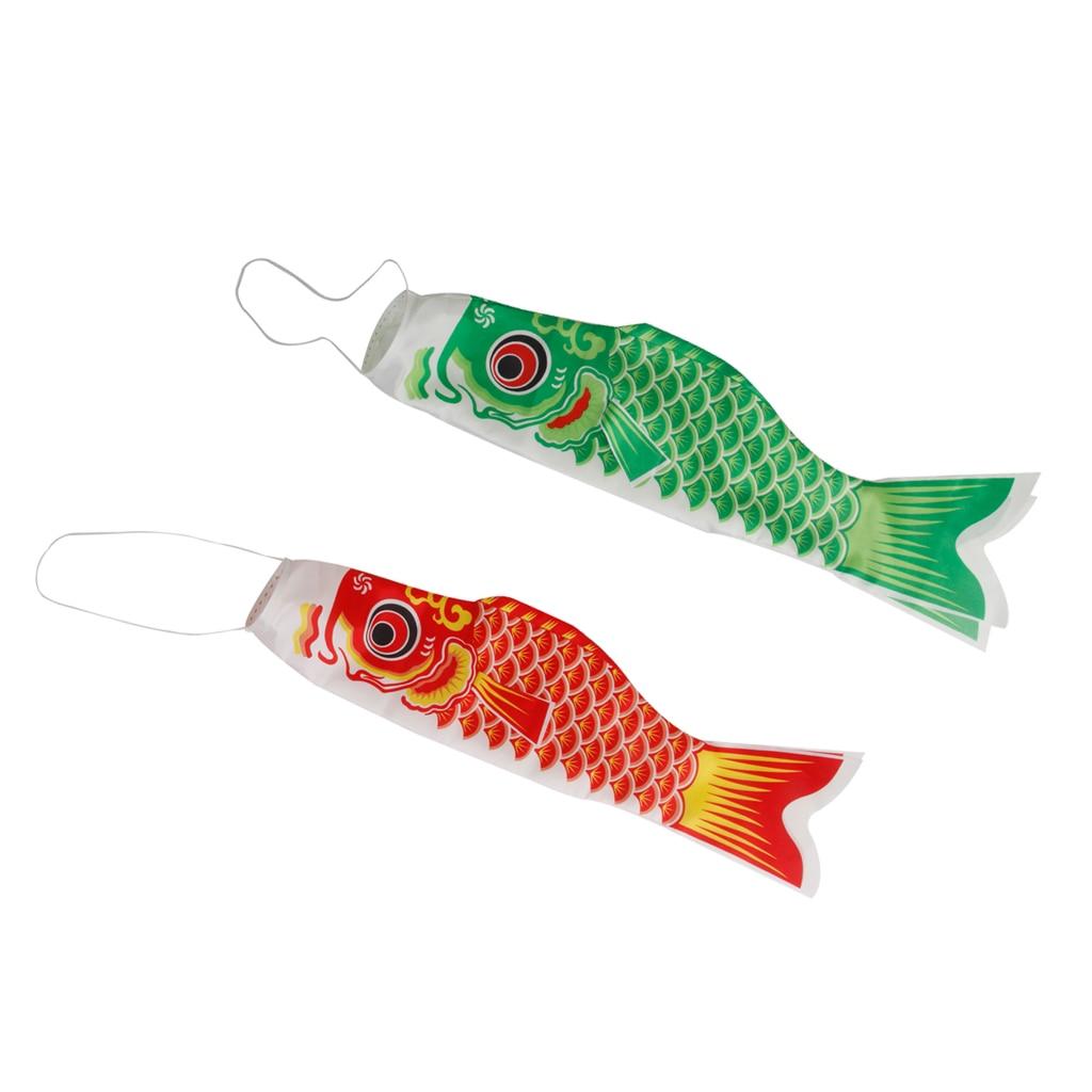 Set of 2 Koinobori Carp Wind Sock Fish Kite Flag Streamer Windsocks