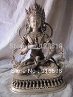 Pure Bronze Silver Plating Tibet Buddhsm Buddha Vajrasattva Statue