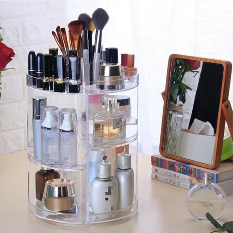 Transparent Rotating Plastic Home Drawer Desk Desktop Storage Box/ Organiser Acrylic Makeup/ Purple lipstick storage Cosmetic