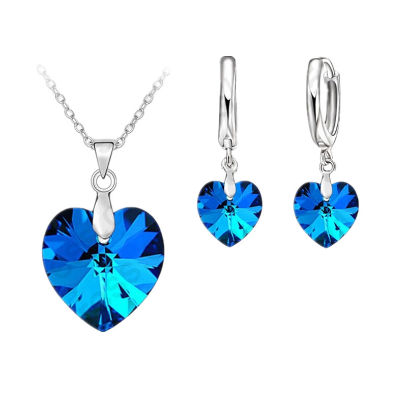 One Set Austrian Crystal 925 Sterling Silver Jewelry Heart