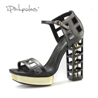 Pink Palms Women Summer Shoes Black Birdcage High Heels Metallic Wedges Fretwork Heels Hollow Out Party