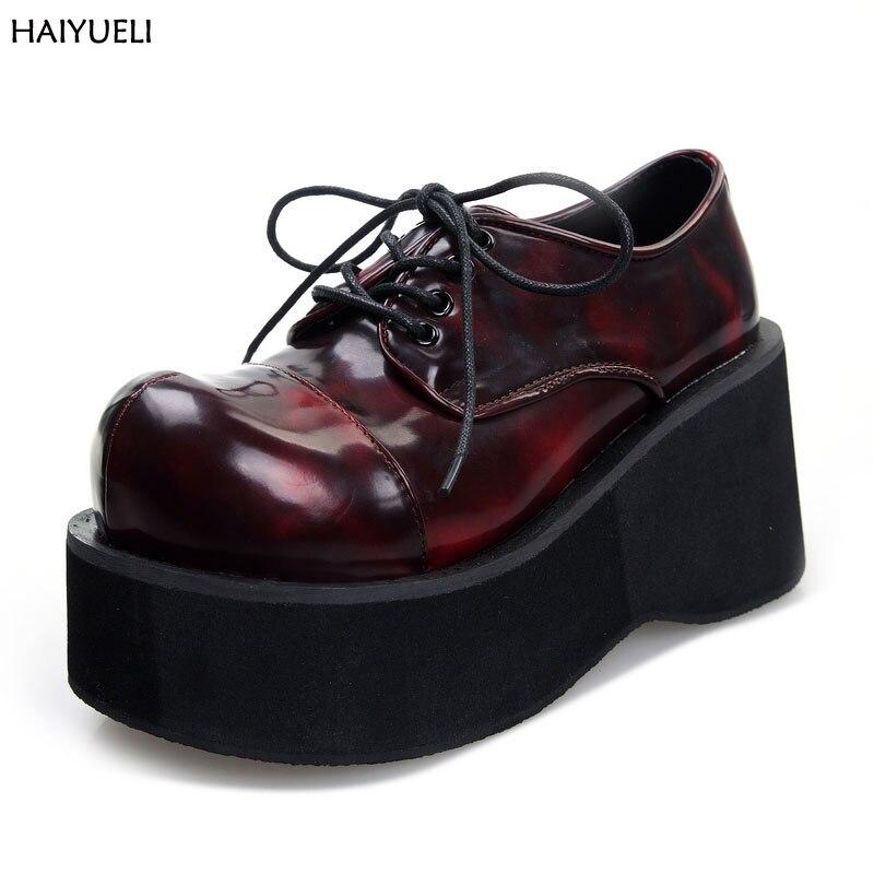 sélection premium 1d431 45887 € 36.63 25% de réduction|Bottines femme Demoni bottines moto Goth Style  Punk Creeper chaussures femme plateforme bottes compensées noir femmes  bottes ...