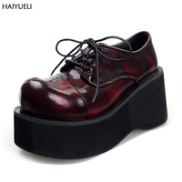 Women Booties Demoni Ankle Motorcycle Boots Goth Punk Style Creeper Shoes Womens Platform Wedge Boots Black women Lace Up Boots