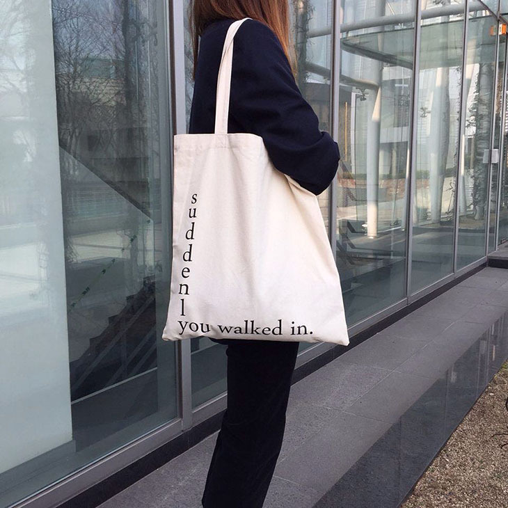 YILE Off-white Cotton Canvas Eco Shopping Tote Shoulder Bag Print English Letter 517-5 letter print cami dress