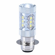 Mayitr 2pcs H6M/P15D 16LED 80W 6000-6500K Motorcycle Headlight Fog Driving DRL Light Bulb White