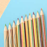 10pcs/Lot 4 color in 1 Rainbow multi-Colors Pencil Drawing Color Pencils for Drawing Pens student Stationery School Supplies