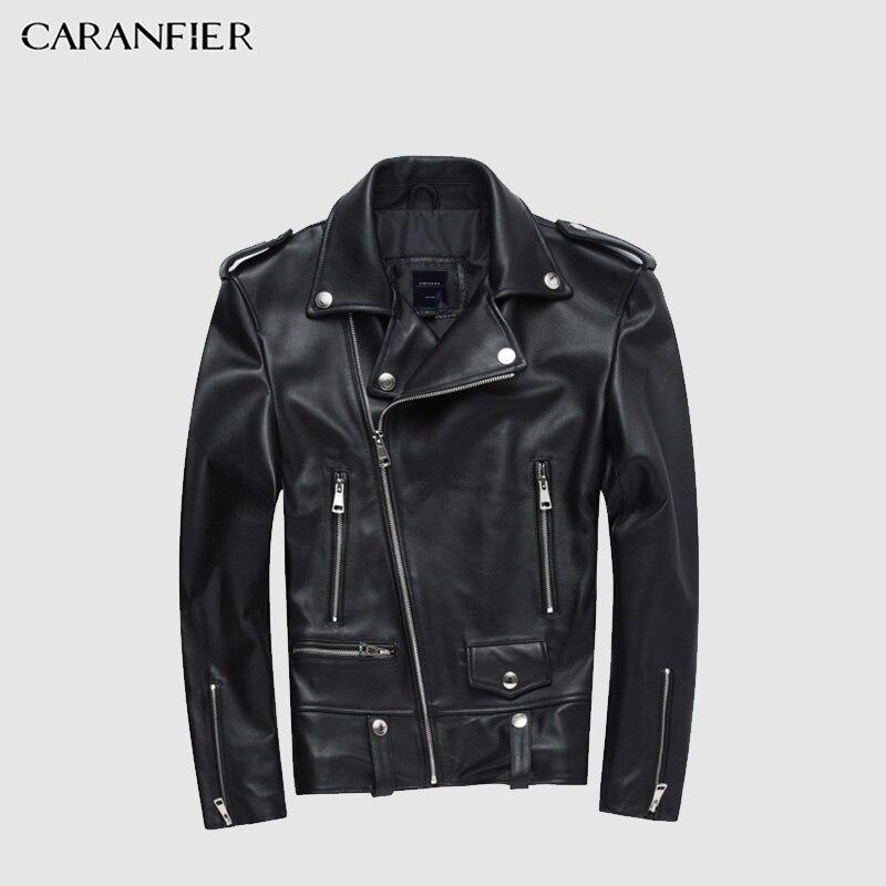 Caranfier quente moda couro de carneiro jaquetas masculinas chique fino ajuste zíper motor & motociclista jaquetas casaco primavera outono casacos de couro