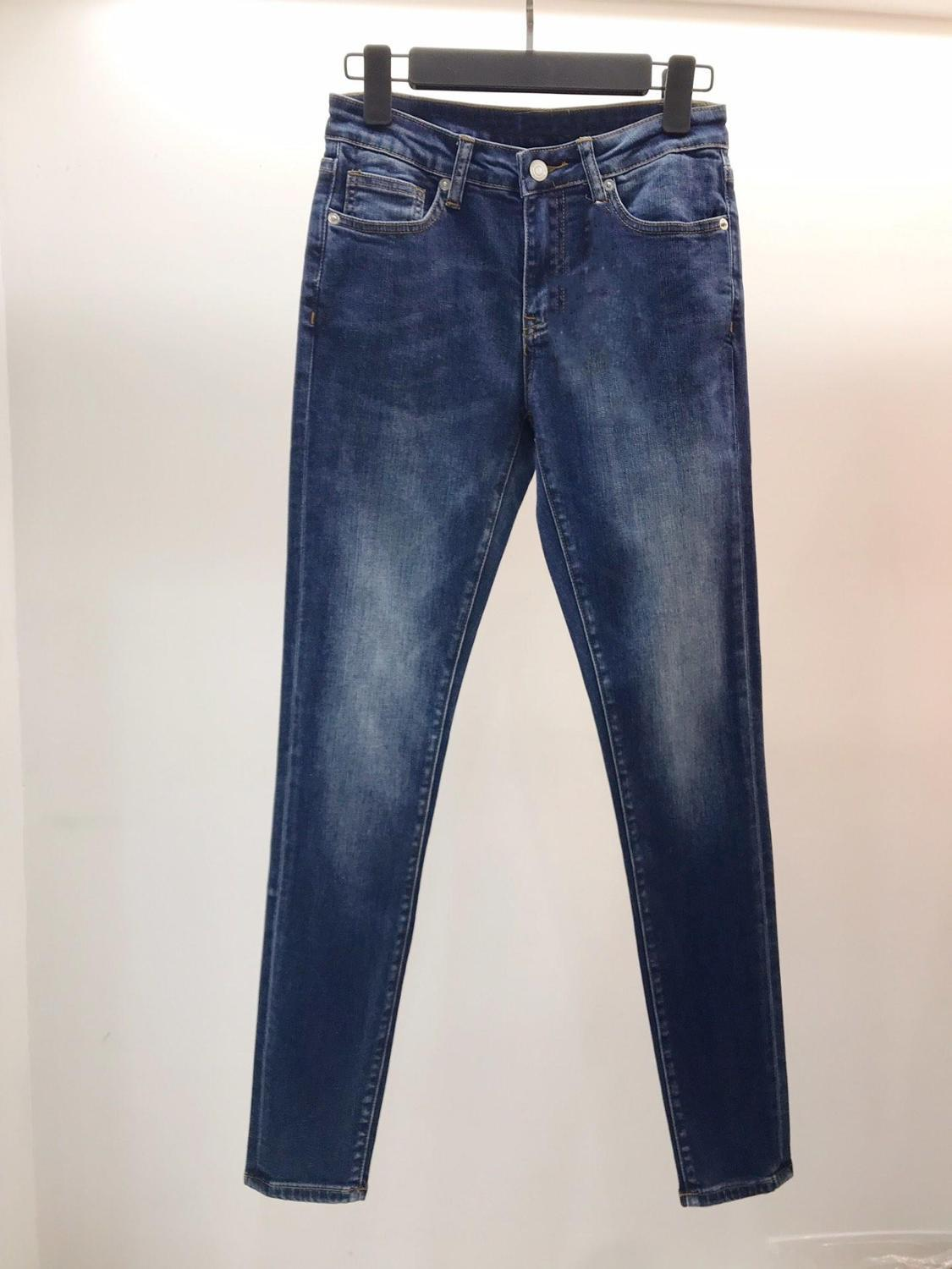 2019 ladies fashion slim waist leather jeans trousers 0712(China)
