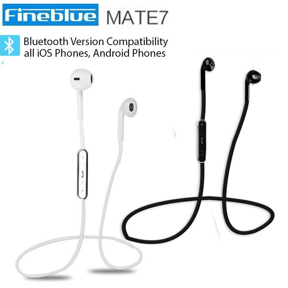Fineblue Mate7 Wireless Bluetooth Earphone Stereo Headset Auriculares sport Headphones With MIC for phone Running fone de ouvido remax 2 in1 mini bluetooth 4 0 headphones usb car charger dock wireless car headset bluetooth earphone for iphone 7 6s android