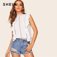 9779513023 SHEIN White Lace Insert Ruffle Detail Top Sleeveless Lace Blouse Women  Summer Keyhole Back Solid 2019 Boho Elegant Blouses
