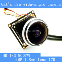 Cat's Eye camera 170 degrees wide angle mini AHD 1000TVL video security surveillance camera module+HD IR CUT dual filter switch