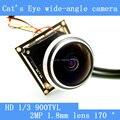 Olho de gato câmera 170 graus grande angular mini-módulo + HD IR-CUT 1000TVL AHD câmera de vigilância de segurança de vídeo dual-filtro interruptor