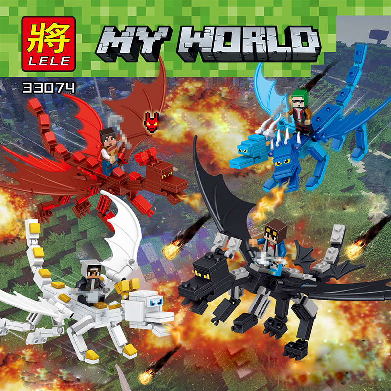 NEW My World Series 4 In 1 The Dragons Little Man Compatible legoINGLY knight Of My World Enlightenment Toys Of Children the man of my dreams
