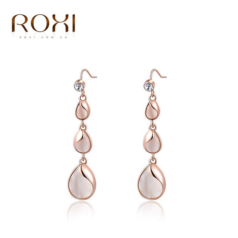 ROXI Charms Water Drop Crystal Long Earrings Rose Gold Color Wedding Pendant Jewelry Romantic Mothers Gift Fashion Jewelery