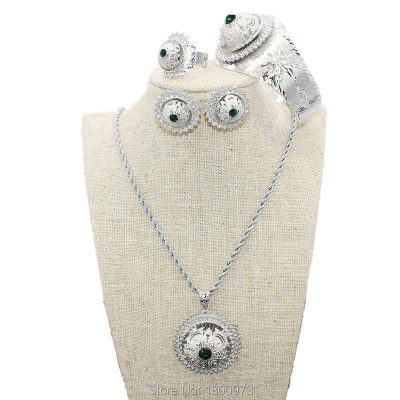 เอธิโอเปียสีหินเครื่องประดับชุดชุบเงินจี้/สร้อยคอ/ต่างหู/แหวน/กำไลเครื่องประดับแอฟริกาเจ้าสาวแต่งงานเอริเทรี