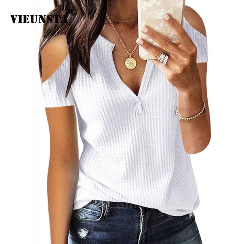 VIEUNSTA Women Sexy Deep V-neck Knitted Womens Tops and   Blouses   2019 Summer Off Shoulder Slim Fit   Shirt   Femme Solid Beach   Blouse