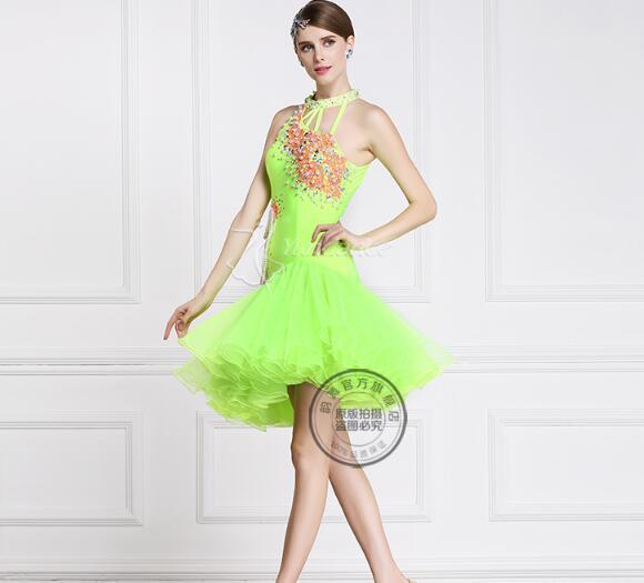 green New customize latin Rumba cha cha salsa tango Latin dance competition dress with pearl beads